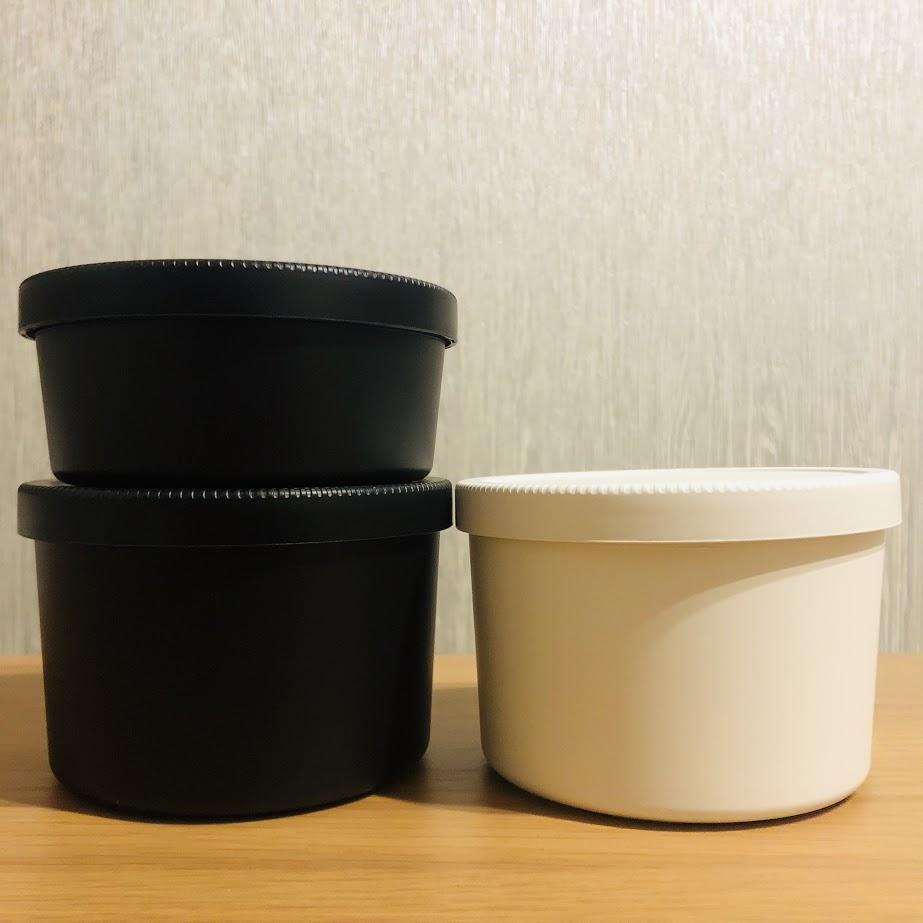無印良品丸型弁当箱_白と黒