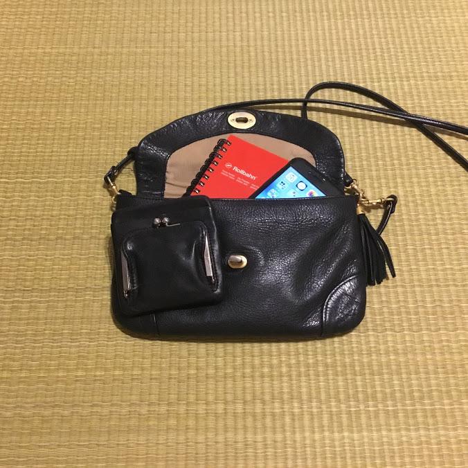 お財布バッグに財布とスマホとロルバーンスリム