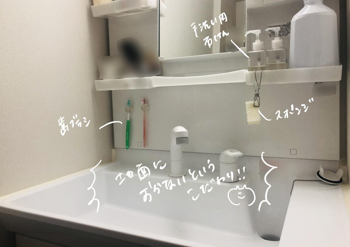 洗面台の収納_ものを置かない_吊す収納